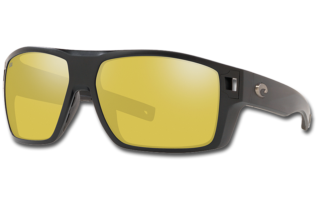 Diego Polarized Glass 580 Sunglasses - Matte Black/Sunrise Silver Lightwave Glass