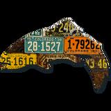 Antique Colorado Trout License Plate Art