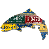 Vintage West Virginia Trout License Plate Art