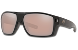 Diego Polarized Glass 580 Sunglasses - Matte Black/Copper Silver Lightwave Glass