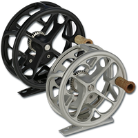 Ross Colorado Fly Reels - showing both sizes (2/3 in Platinum, 4/5 in Matte Black)