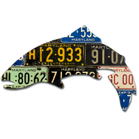 Antique Maryland Trout License Plate Art