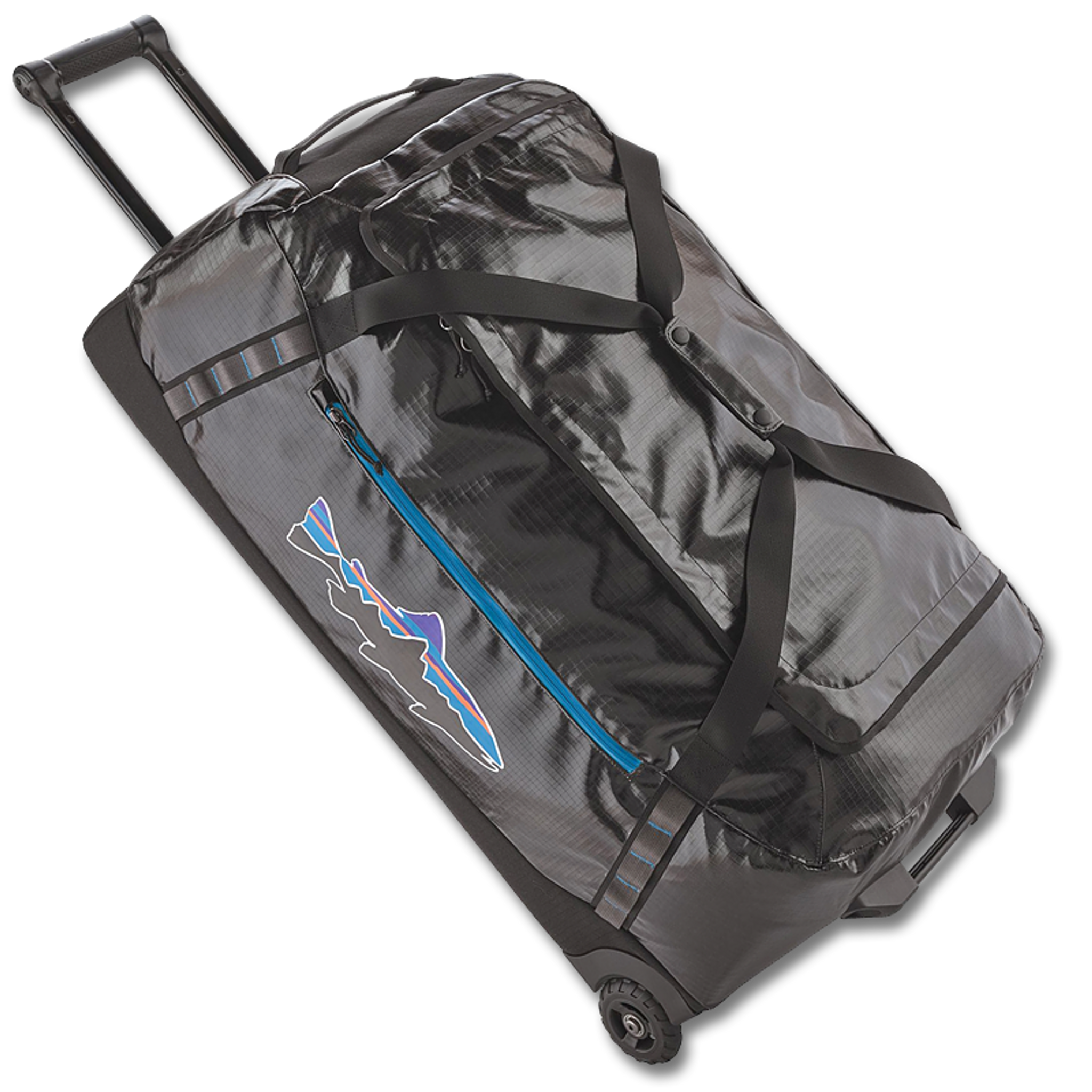 3a8868fc014f Patagonia Black Hole® Wheeled Duffel Bag - Black with Fitz Trout ...