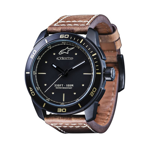 Horloge Alpinestars Tech Watch Matt Black Leather Brown & Black Nylon Strap (1017-96096-1041)