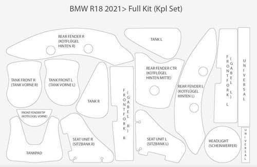 Wunderlich BMW R 18 Lakbeschermfolie complete set transparant