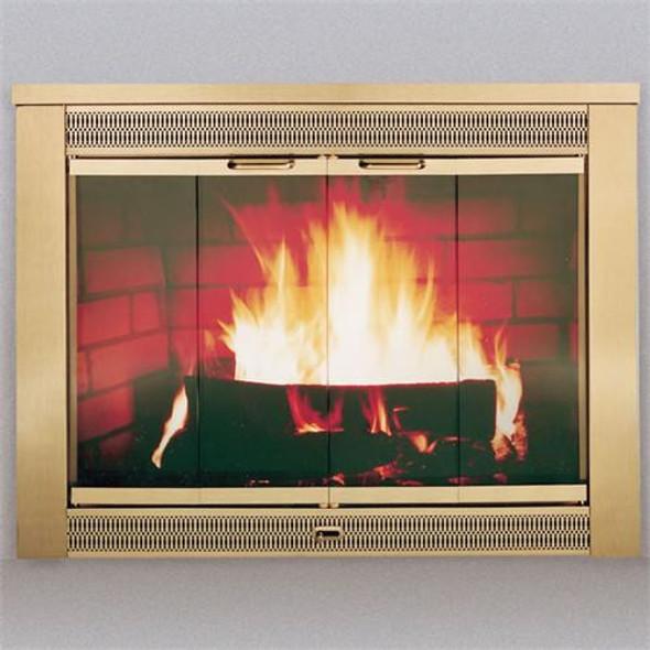 """Portland Willamette Polished Brass Glass Door, Model 4333, 43 1/16""""w X 33 3/8""""h"""