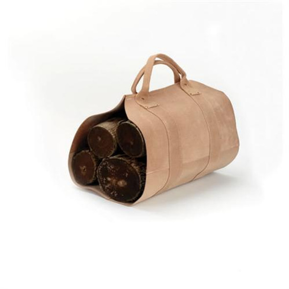 """Rugged Cowhide Leather Log Carrier, 17"""" X 37"""""""