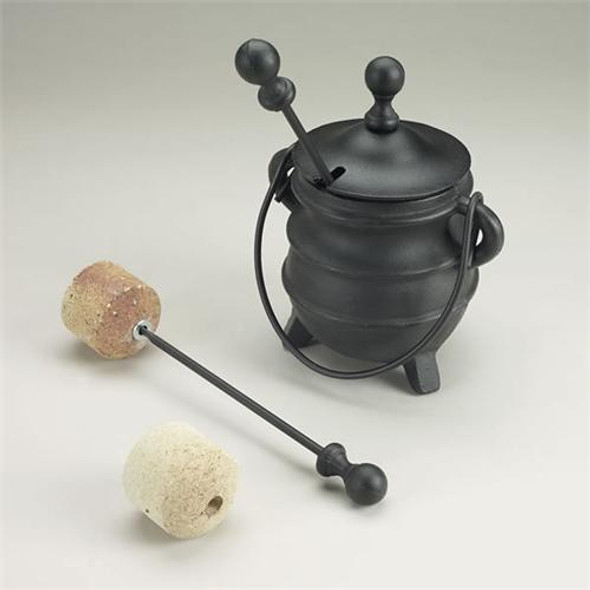 """Cast Iron Fire Pot, 1 Rod & 1 Stone, 5""""w X 8""""h"""
