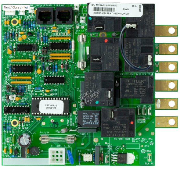 CAL SPA CS5200 PRINTED CIRCUIT BOARD - CALELE09100213
