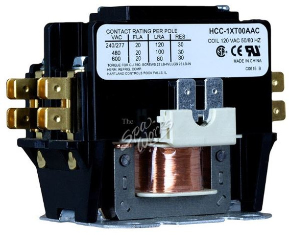SINGLE POLE CONTACTOR 20 AMP RATED 120 VAC COIL - HCC1XT00AAC