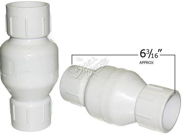 1 1/2 INCH PVC SPRING CHECK VALVE, 1/2 LB, WHITE - FLO1011-15