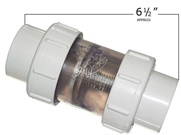 1 1/2 INCH PVC, 1/2 LB SPRING CHECK VALVE WITH UNIONS, CLEAR - FLO1790C15