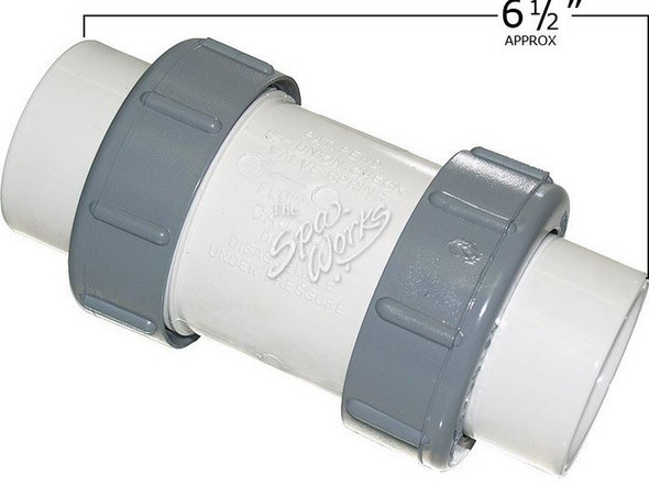 1 1/2 INCH PVC, 1/2 LB SPRING CHECK VALVE WITH UNIONS, WHITE - FLO1790-15