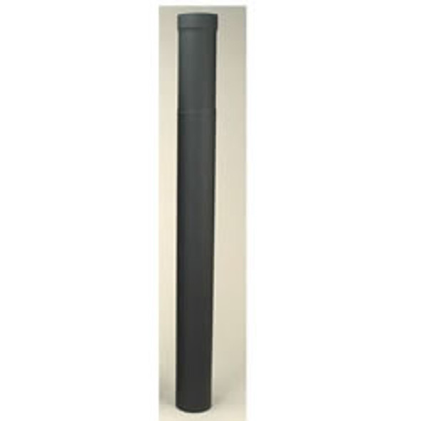 "Adjustable Length Heat-fab 22-ga Welded Black Stovepipe 8"" x 38""-70"" - 21335"