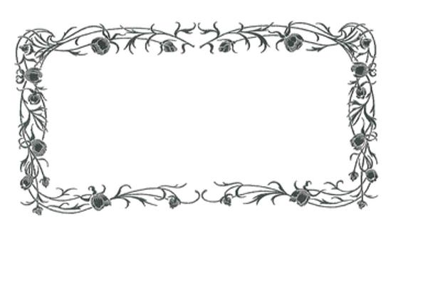 Glass, Rose Border Etching - MF3558