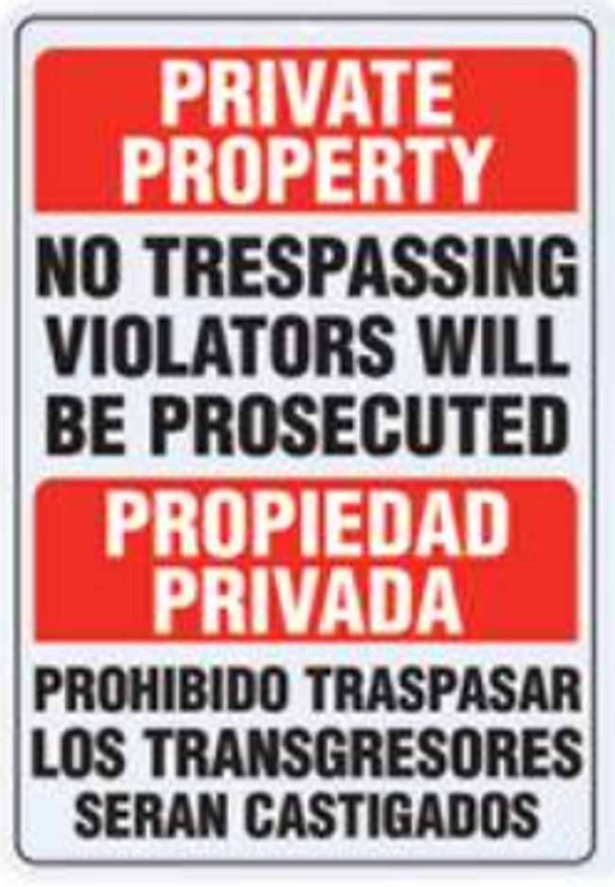 B&F Diamond Plate Sign - Private Property No Trespassing Violators Will Be Prosecuted