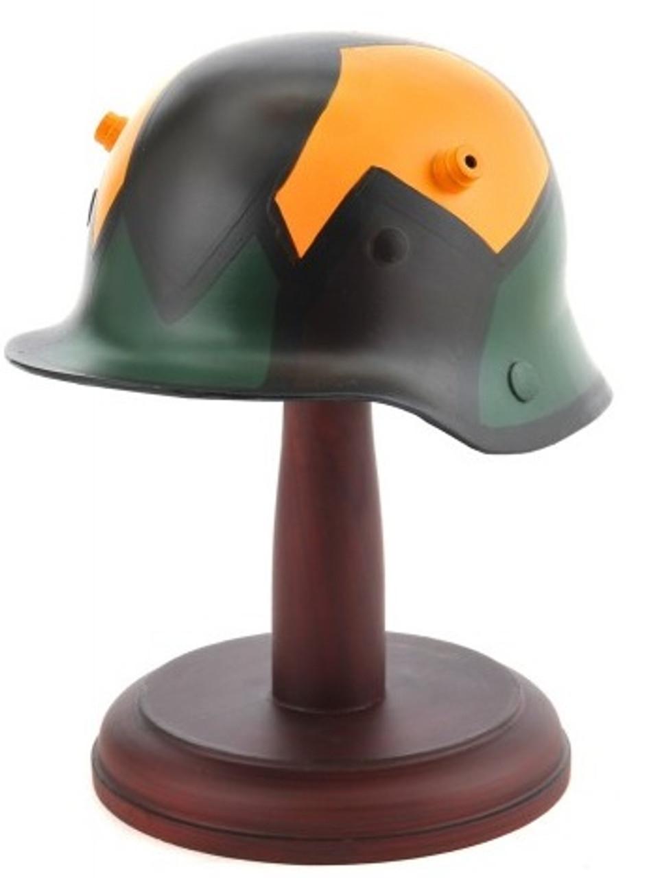 Desktop German WW1 Camouflage M1916 M16 Stahlhelm Helmet with wood stand
