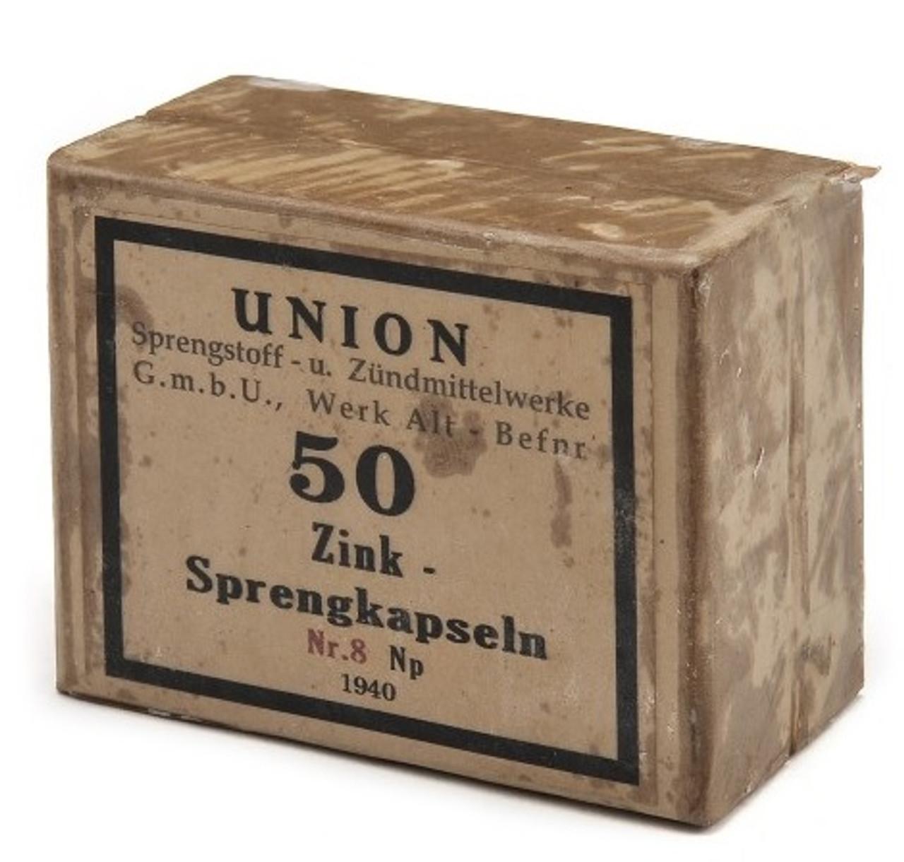 GERMAN WW2 DETONATORS - 50 Ct Sprengkapseln Nr.8 SIMULATED BOX