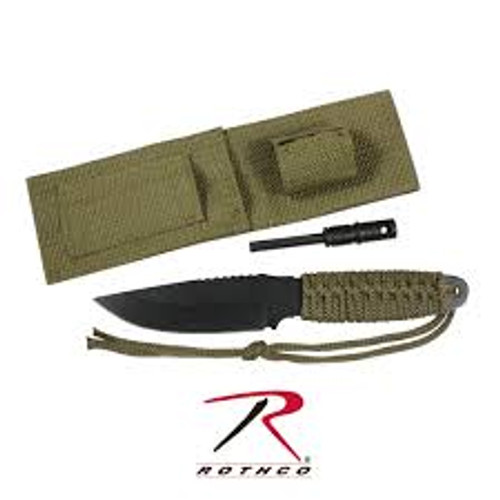 Rothco Paracord Knife With Fire Starter Olive Drab