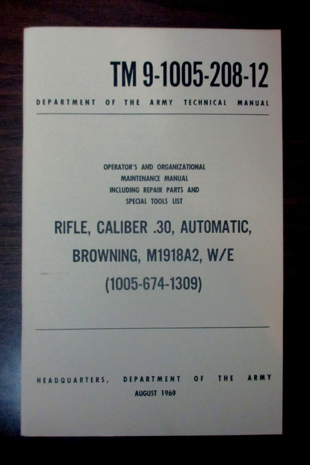 Rifle Cal .30 Automatic Browning Field Manual