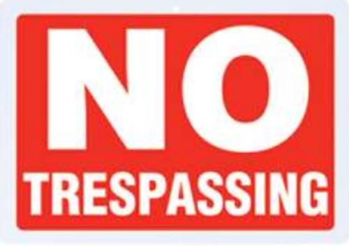 B&F Diamond Plate Sign - No Trespassing