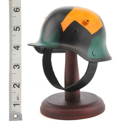 Desktop German WW1 Camouflage M1916 M16 Stahlhelm Helmet with wood stand