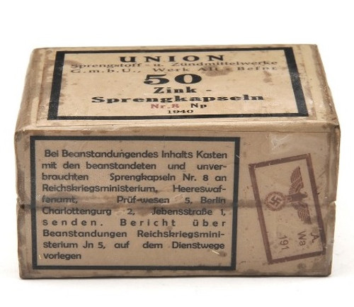 GERMAN WW2 DETONATORS - 50 Ct Sprengkapseln Nr.8 SIMULATED BOX