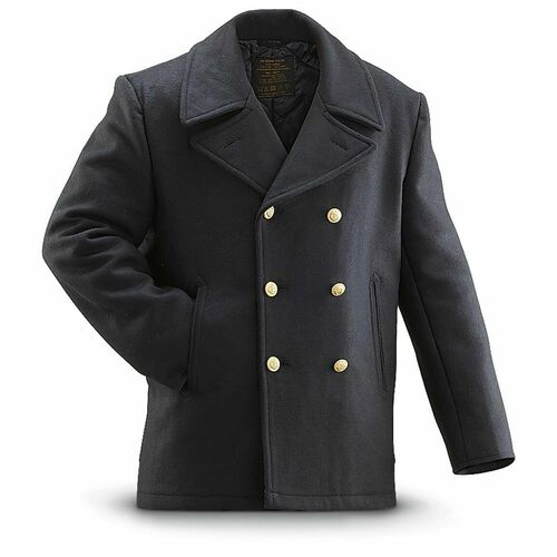 New! Mens Mil-Tec German Navy Pea Coat, Black