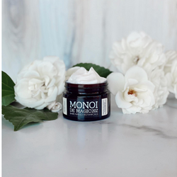 Tahitian Monoi Oil has been used for centuries by South Pacific Islanders. This delicately fragranced facial cream is rich in anti-aging nutrients to renew tired, dehydrated, and aging skin. Rich in exotic butters, naturally scented due to the nature of Tahitian Tiare Flowers and multiple antioxidants are sure to refine skin, increase hydration, lessen fine lines, wrinkles, sagging and reduce redness in irritated skin types. Wild-harvested Kokum Butter, Wild-harvested Cupuacu Butter, Tahitian Monoi sooth and reduce ruddiness and hydrate tired, dry, and moderately dry skin. Powerful Hyaluronic Acid provides much needed water hydration and draws moisture into the skin.