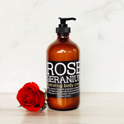 This lusciously hydrating, non-greasy hand and body cream will deeply hydrate the skin without leaving a greasy after feel. Moroccan Rose Absolute and Egyptian Geranium essential oils envelope you in this aromatic, floral body cream. Rose and Geranium are known for their calming, relaxing qualities that generate feelings of wellbeing and security