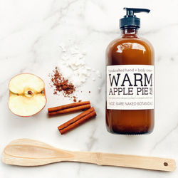 Warm, spicy apples, cinnamon and bourbon vanilla reminiscent of holidays past! Wrap yourself in decadent sweetness featuring ECOCERT certified ingredients, fair trade, cruelty free goodness. Be forewarned, this one is so warm pie realistic, someone may attempt to take a bite!
