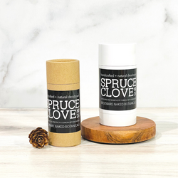 Spruce Clove, a fresh and clean aroma featuring the essential oils of Blue Spruce, Eucalyptus, Clove, Vanilla and Tonka Bean Absolute combined with a unique blend of ingredients to naturally combat excess moisture and control odor while treating the sensitive underarm skin to lightweight, healing ingredients, and skin beneficial essential oils. This Zero baking soda means zero irritation! Powdered Magnesium and Organic Potato Starch offers the powerful combination to combat moisture and odor.