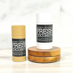 Love all things tropical and Coconut? A proprietary blend of organic extracts blended to create a fresh and delicious coconut treat! Free from artificial fragrance and aluminum. This product contains vanilla and may cause the deodorant to appear a dark tan color after use. This will not affect the quality of the product or it's effectiveness.