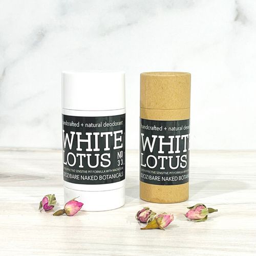 If you love Rose and Geranium, you'll adore this romantic deodorant! Perfect for keeping you dry and smelling floral fresh all day. Moroccan Rose Absolute, Egyptian Geranium, Bergamot, and White Lotus Absolute combined with a unique blend of ingredients to naturally combat excess moisture and control odor while treating the sensitive underarm skin to lightweight, healing ingredients, and skin beneficial essential oils.