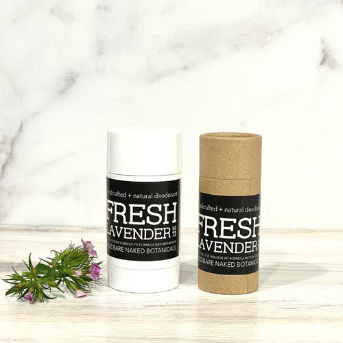 Woodsy and wild fir needle, a varietal blend of floral lavender, tonka bean and lavender extract makes this natural deodorant a new favorite! Active ingredient magnesium hydroxide powerfully combats odor causing bacteria and absorbs wetness.