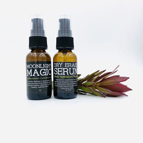 Moonlight Magic pairs perfectly with Dry Erase Serum. Use Moonlight Magic in the PM and Dry Erase in the AM.