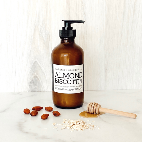 A limited-edition body cream of absolute almond biscotti deliciousness! If you love our Oatmeal Agave bath bar, you'll love this luscious body cream with agave, oat butter, and essential oils of almond, cinnamon, nutmeg and clove. This smooth, creamy + almond scented body cream smells good enough to eat. As always, you can expect plant-based, cruelty-free, and toxin-free goodness in all of our range of products. Enjoy deep hydration without the feel of greasiness.