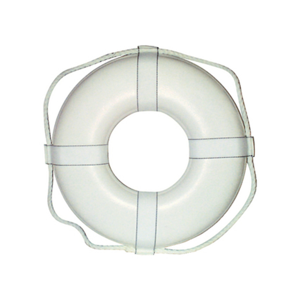 "Cal-June G Style Life Ring Buoy w/ Straps, 19"", White"