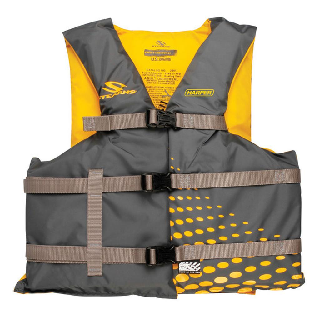 Stearns Adult Universal Boat Vest, Grey/Gold