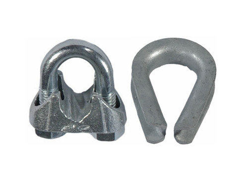 HarborWare Clamp & Thimble Set, Galvanized Steel 3/8-in
