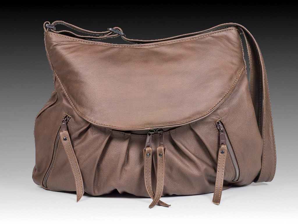 Brown Medium Route #66 Hobo with Tooled Rose