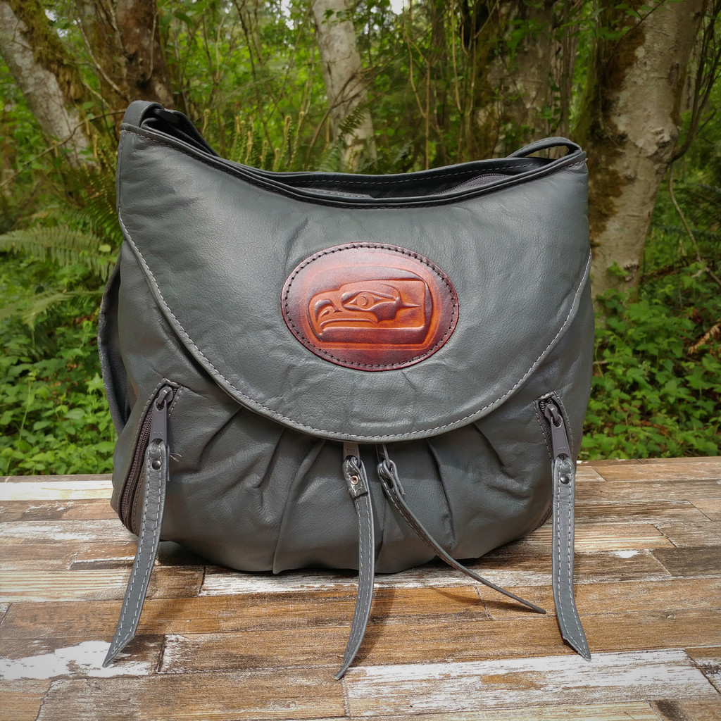 Grey Medium Route #66 Hobo with Tooled Northwest Indian Seahawk Medallion.  A little taller and wider than the small.  Roomy without looking too big.