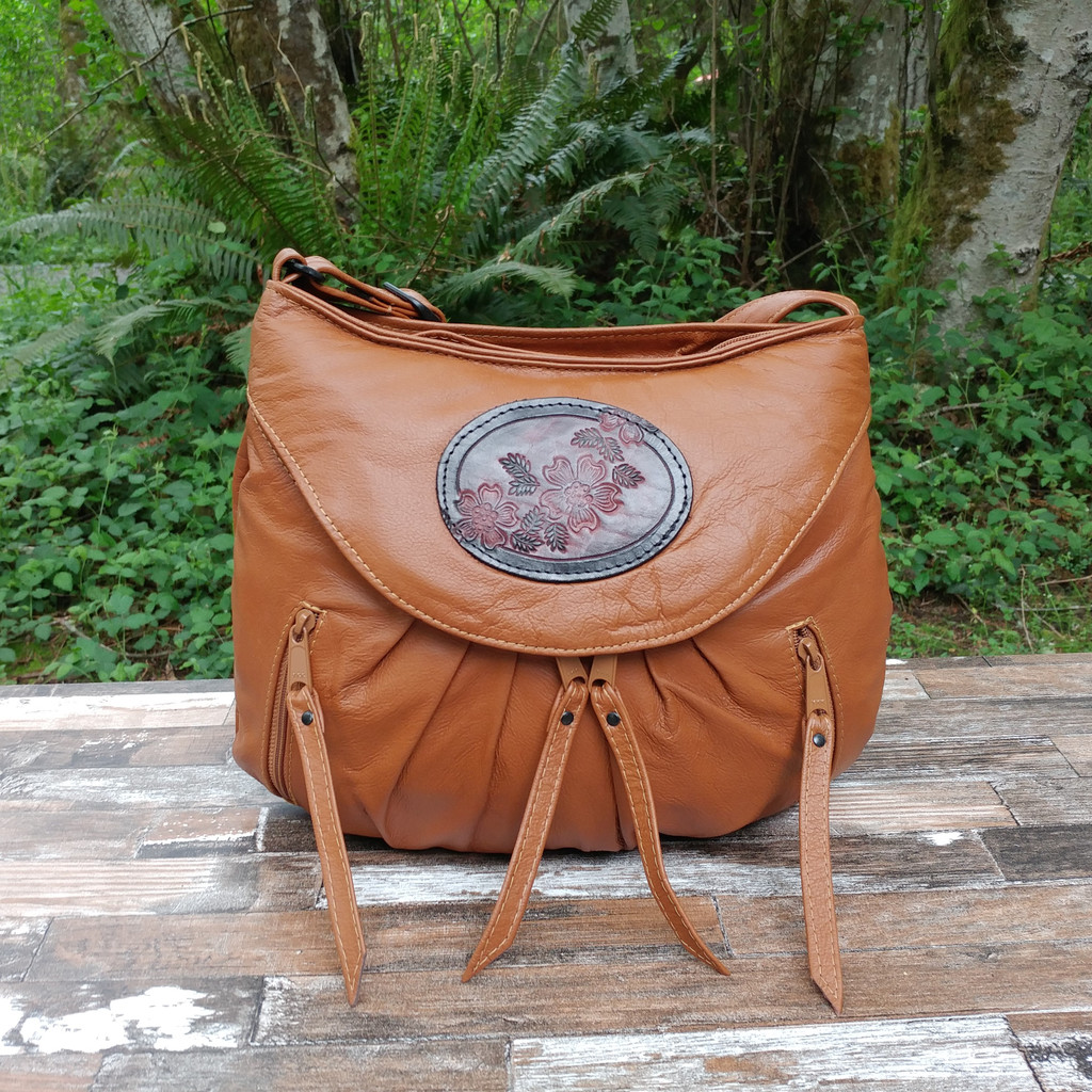 Cognac Small Route #66 Hobo with Tooled Dogwood Medallion.