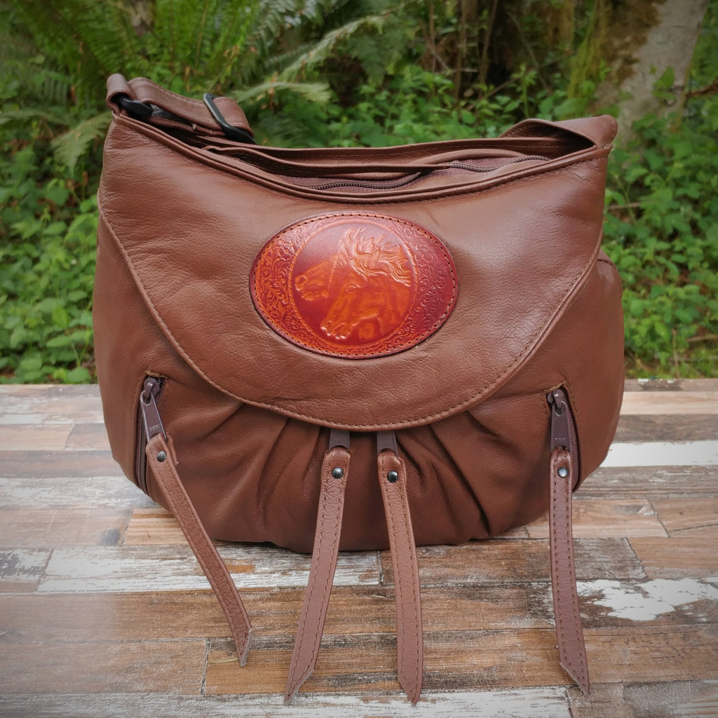 Cognac / Brown Small Route #66 Hobo with Tooled  Double Horse Heads Medallion.