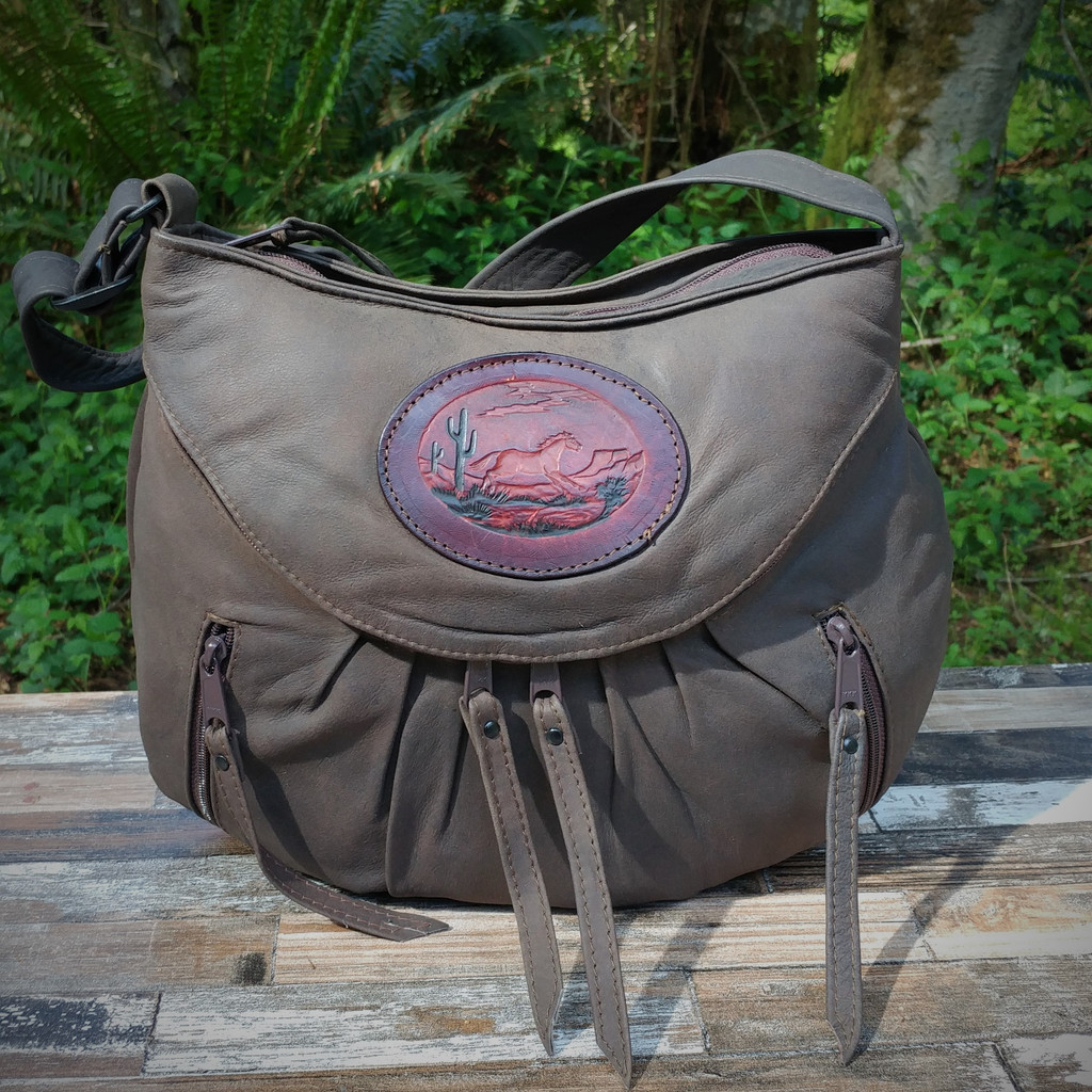 Distressed Brown Small Route #66 Hobo with Tooled Running Horse Medallion.