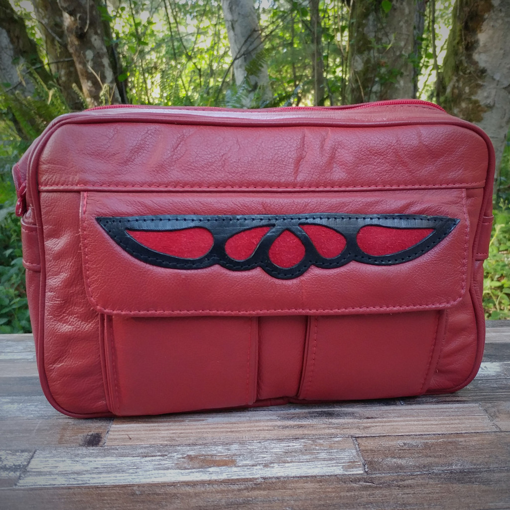 "Red ""E"" Bag Electronic Organizer with Overlay"