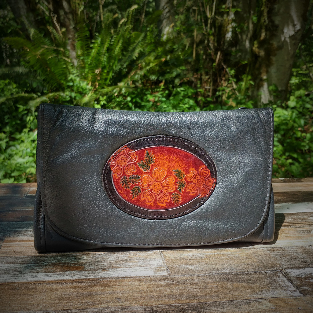Black Strapped Wallet with Tooled Dogwood Medallion