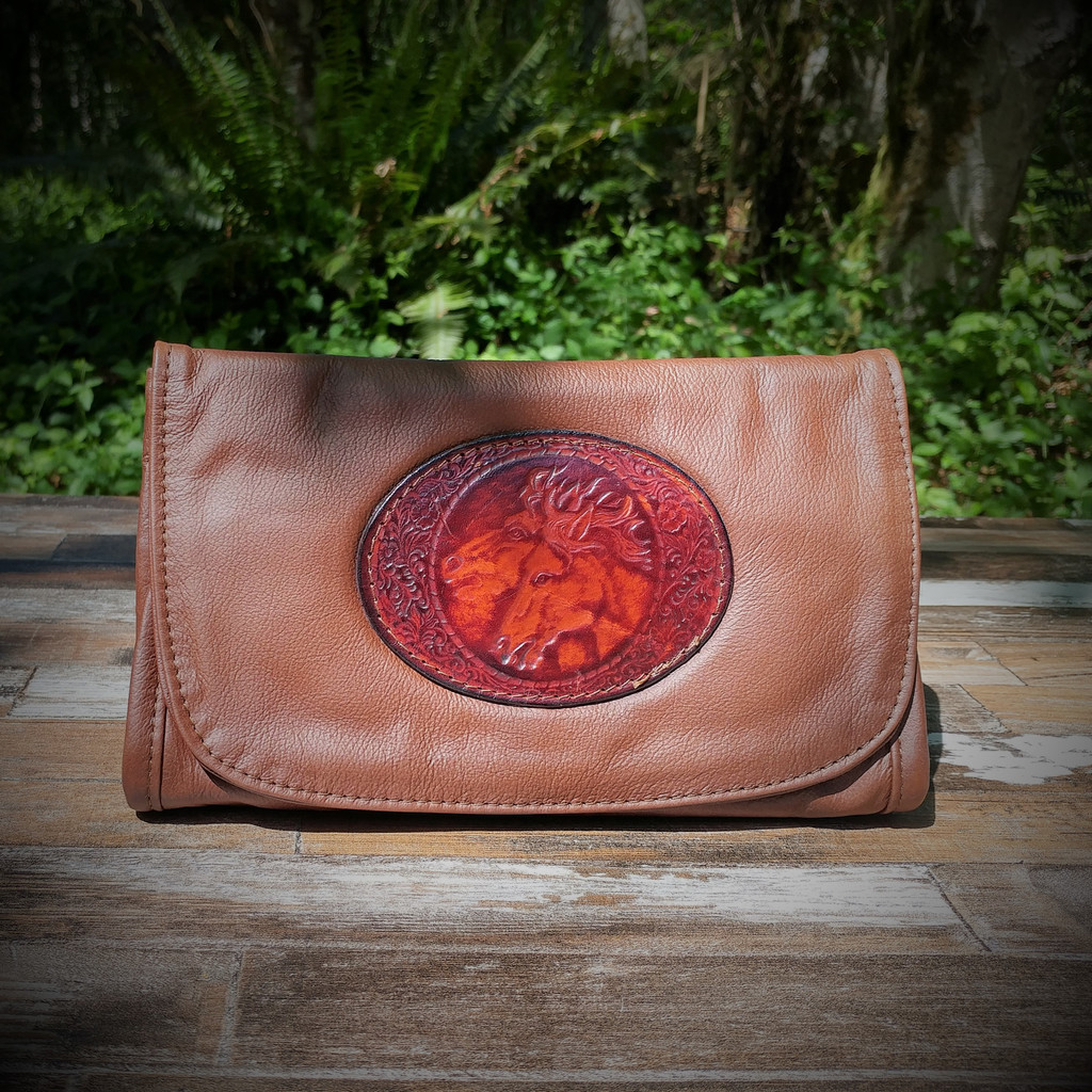 Brown Strapped Wallet with Tooled Double Horse Heads Medallion