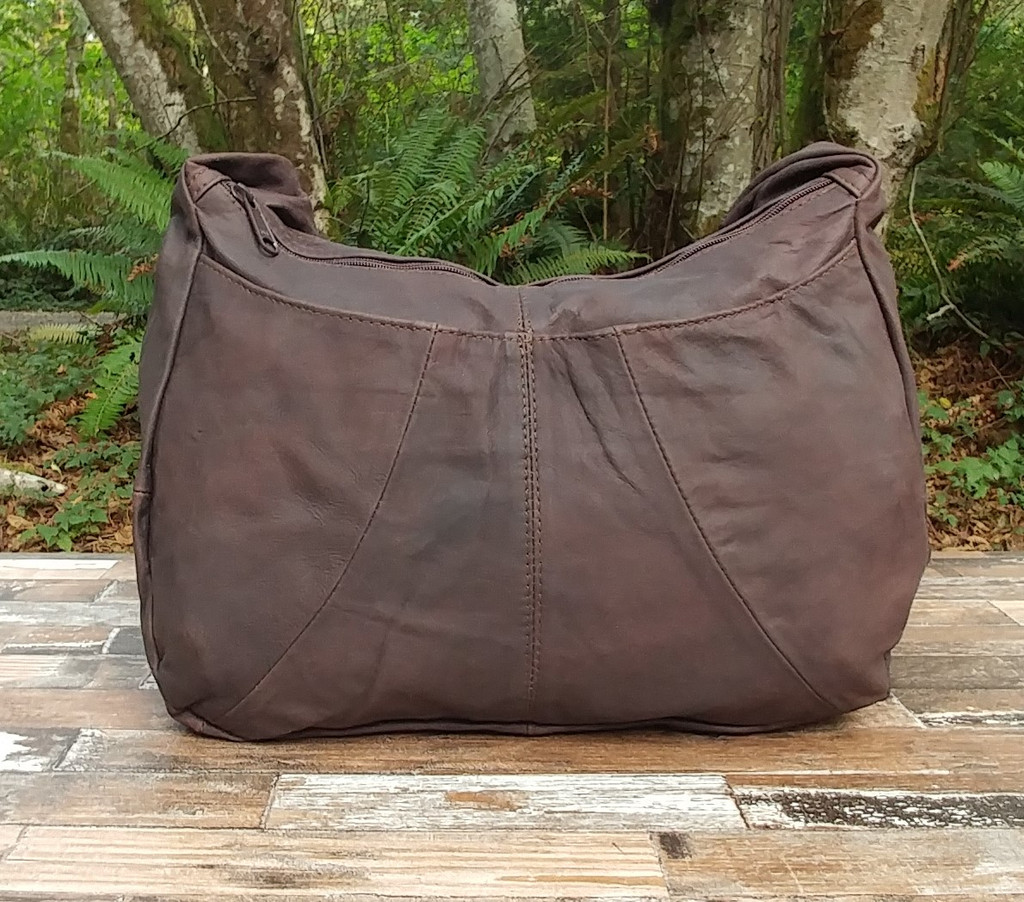 Distressed Brown Hidden Pocket Hobo Bag