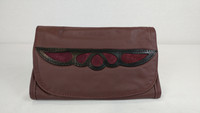Burgundy Strapped Wallet with Overlay